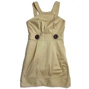 MILLY Jumper Dress Wooden button canvas military